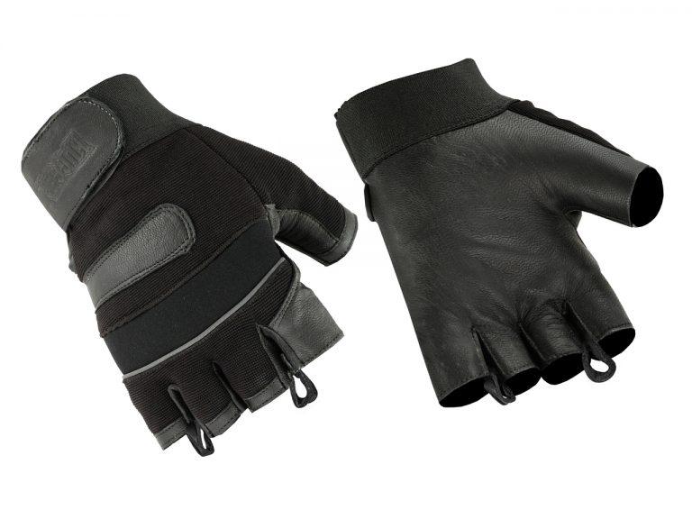 Men's Fingerless Motorcycle Gloves Micro Mesh and Seamless Leather Palm Velcro Strap