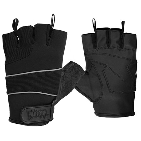 Hugger Men's Breathable Fingerless Motorcycle Gloves Reflective Piping