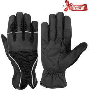Hugger Men's Air Mesh Comfort Gloves Breathable Summer Motorcycle Riding Reflective Piping