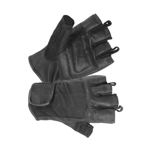Men's Fingerless Technaline Leather, Summer Touring Chopper Gloves with Double Padded Palm (M.STC)