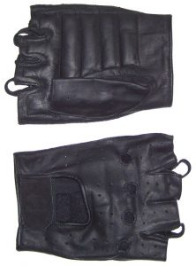 Men's Fingerless Leather Gloves with Padded Palm
