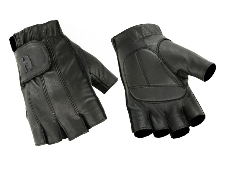 Men's Fingerless Technaline Leather Gloves with Gel Palm (M.GPFG)