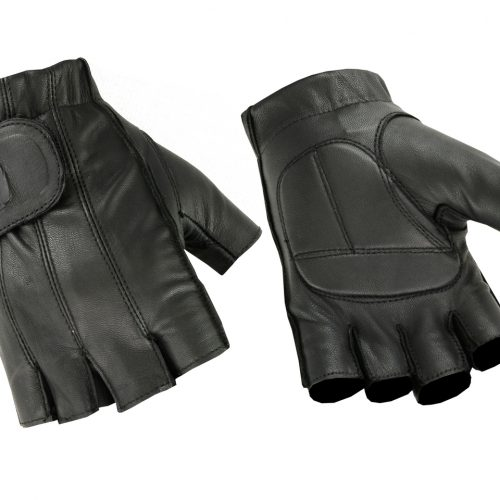 Hugger Mens Deersoft Fingerless Gel-Padded Palm Summer Motorcycle Gloves