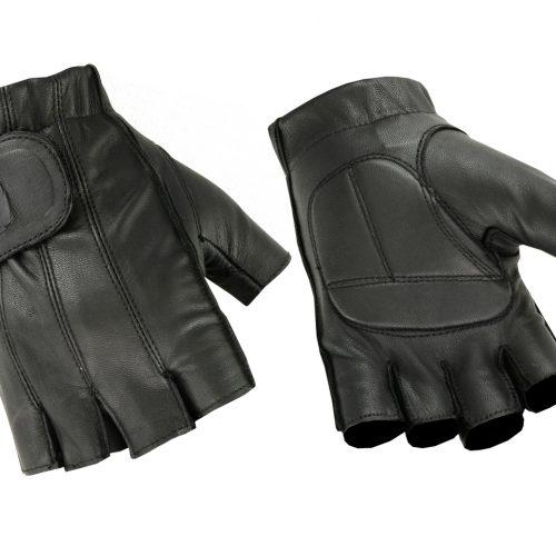 Hugger Mens Deersoft Fingerless Gel-Padded Palm Summer Motorcycle Gloves